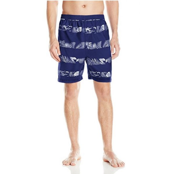Swim Trunk - Navy Floral Stripe