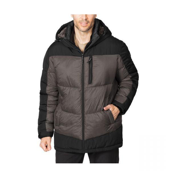 Chevron Poly Puffer with Sherpa Lined Hood